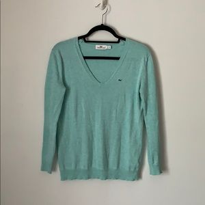 VINEYARD VINES Blue V-Neck Cotton Sweater